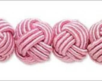 Unique & Unusual Knotted Round Rayon and Acrylic Beads Pink 8-9mm 6pcs