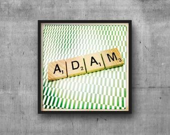 ADAM - Name Art - Scrabble Tile Name - Art Photo - Photography Art Print - Name Sign