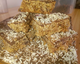Dairy free flapjack chocolate and coconut