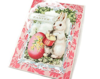 Easter Bunny Greeting Card, Vintage Style, Cottage Chic, Cute Easter Rabbit Card, Easter Egg, Floral Easter Card, Happy Easter, Luxury Card