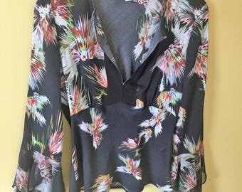Vintage Black Multi Diane von Furstenberg DVF Silk Top Size 2 Regular