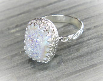 Angel Aura Quartz Ring Unique Druzy Statement Ring set in Ornate Sterling Filigree R163