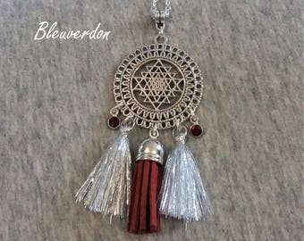 Ethnic necklace dream catcher Burgundy and silver tassels