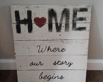 Home ~Where our story begins... Wood Sign
