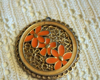 Vintage Gold Pendant with Peach Flowers