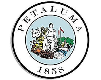 ROUND City of Petaluma California Seal Sticker (ca decal)