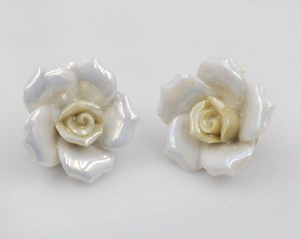Glass White Enamel Rose Petal Clip On Vintage Earrings