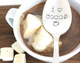 hot chocolate spoon, hand stamped spoon, Vintage silverware, chocolate lover, hot cocoa, hot chocolate, gift under 20, stamped spoon
