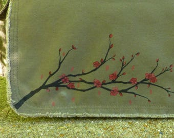 Cherry Blossoms for Kate, Canvas Messenger Bag, Hand Painted