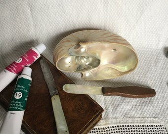 Two antique artists' palette knives / antique art equipment/ mother of pearl palette knives