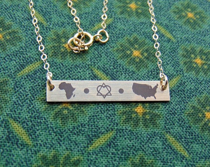 New Adoption Emblem! Adoption bar necklace. Personalized adoption jewelry, new mom, adoption gift Yellow Gold, Rose Gold, or Sterling Silver