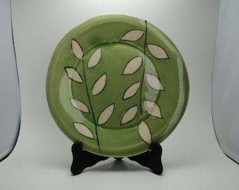 Handmade Ceramic Plate   Hand Built Pottery Plate   Hand painted Leafs   Celedon Leaf