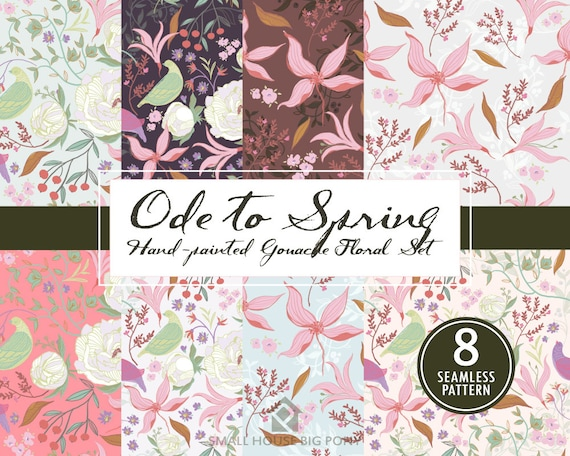 Watercolour Flower Clip Art Collection - Hand Painted Graphics- Ode To Spring - Seamless Floral Pattern