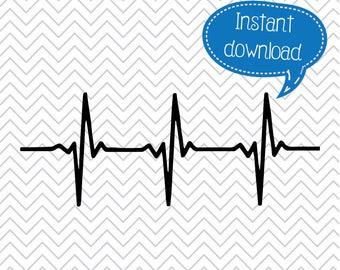 Heartbeat SVG, Heartbeat Graphic, Heartbeat PNG, Patient Heart, Doctor, Nurse, Heart Rate, SVGs, Cricut Cut File, Silhouette File