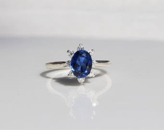 Sapphire Ring, Sapphire Halo Ring, Silver Sapphire Ring, Blue Sapphire Ring, Promise Ring, Engagement Ring, September Birthstone Ring