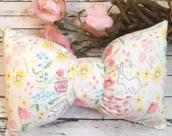 Nursery pillow, Bunny pillow, bunny nursery, Pink Pillow, Easter Gift, Pink Nursery Pillow, floral Pillow, Bow Pillow , Tooth Fairy Pillow,