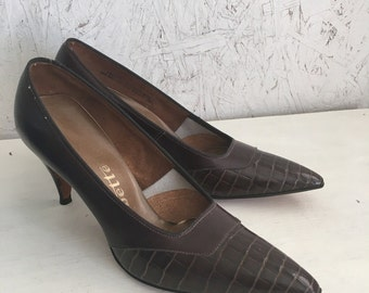Vintage High Heels, 60s Brown Calf Leather High Heels, 60s Pumps by Babette DEADSTOCK Unworn Size 8AA