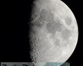Partial Moon, 8x8 - 8x10 Fine Art Photograph (G9369), Nature Photography, photo of moon, moon crater photo