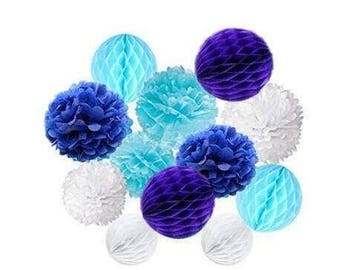 12pcs Mixed Royal Blue Baby Blue White Party Tissue Pom Poms Paper Honeycomb Ball Wedding Birthday Baby Shower Party Festival Home Decor