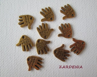 10PCS - Mini Hand Charms - Gold Toned - 11mm - Findings by ZARDENIA