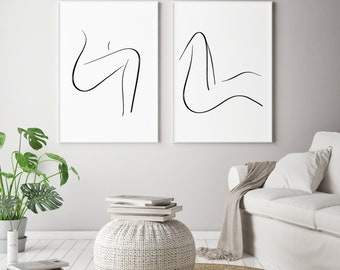 Nude Line Drawing Bedroom Wall Art Bedroom Decor Nude Woman Print  Minimalist Nude Wall Art Minimalist Art Set Of Two Printable Bedroom Art