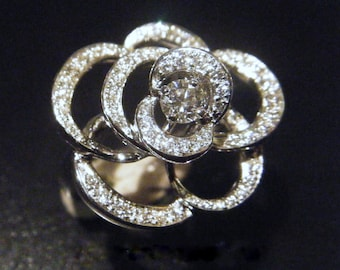 """Unique Engagement Ring Diamond Flower Ring """"Honfleur' Gold Camellia Right Hand Statement Ring Non Traditional Ring Camellia Jewelry"""