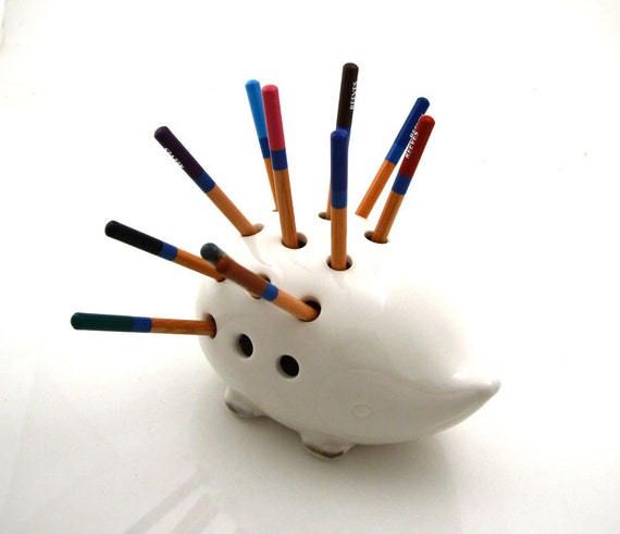 Porcupine pencil holder handmade teacher gift idea from Etsy