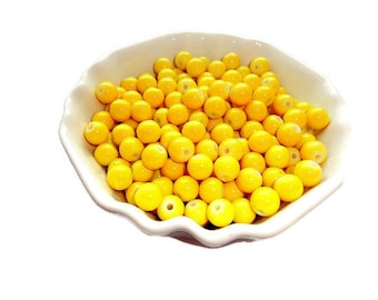 Lemon Hot Yellow Round Glass Beads 8mm Yellow Beads Jewelry Supplies 25 pcs.