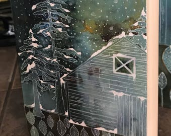 When Seasons Mingle - Contemporary Nature Painting of trees and barn in a snowstorm with new growth coming up from the Earth. Reproduction
