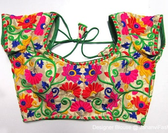 Readymade saree blouse with colorful embroidery - Sari Blouse - Saree Blouse - Sari Top - For Women - Designer Blouse with round neck