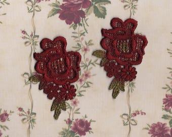 Hand Dyed Venise Lace Appliques Edwardian Christmas Florals Set of 2