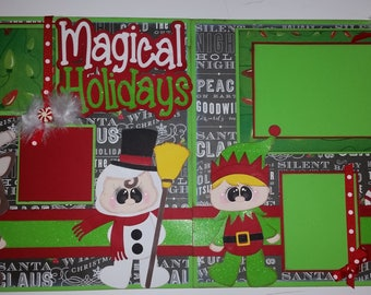 MAGICAL HOLIDAYS Christmas 2 Premade Scrapbook Pages Paper Piecing for Album 12x12 Scrapbooking