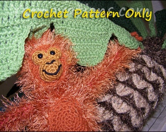 Monkey, Banana, Palm Tree Beach Crochet Set Pattern