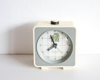Square Desk Clock, Soviet Alarm Clock, Jantar Soviet Union Home Decor, Office Decor Plastic Case Clock, Spring