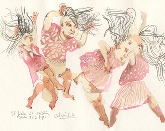 Crazy Dance, ORIGINAL watercolor, surrealistic drawing of people dancing by Catalina