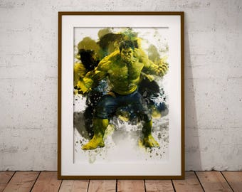 The Hulk Marvel Poster Watercolor Poster Hero Incredible Hulk Watercolor Art Print, Superhero Poster Watercolor Wall Art n459