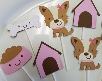 Puppy cupcake toppers, dog cupcake toppers, puppy party, puppy birthday