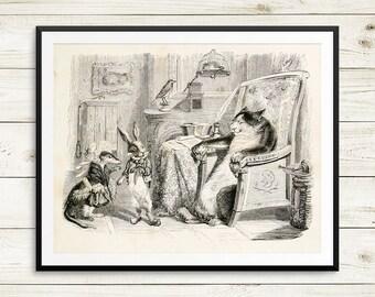 Antique childrens book, childrens book illustration, vintage book art, kids room decor, wood engraving reproduction, Fables de La Fontaine