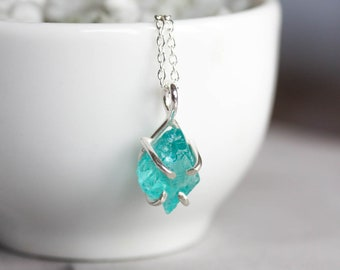 Rough Apatite necklace - simple pendant necklace - sterling silver - sky blue apatite