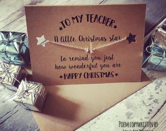 Teachers Christmas Gift/Gift for teacher/Christmas card for teacher/Charm Bracelet/Present for Teacher/Bracelet Card/Jewellery Card/