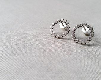 Sterling Silver Bubble Earrings - Hammered Oxidized Sterling Silver Dot Circle Stud Earrings Handmade Gift for Her Simple Modern Minimalist