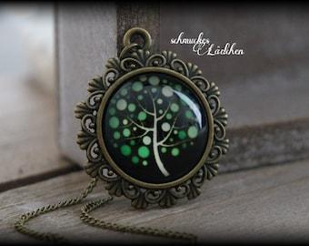 Life Tree Antique Bronze Cabochon necklace