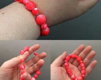 Neon Orange Splash Beaded Bracelet