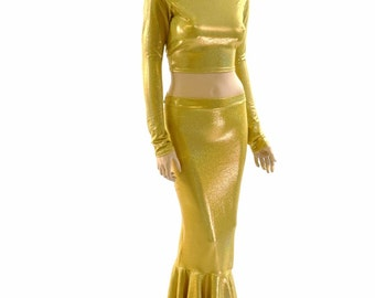 2PC High Waist Mermaid Wiggle Skirt and Long Sleeve Crew Neck Crop Top Set in Gold Sparkly Jewel Holographic -152132