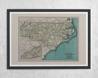 NORTH CAROLINA MAP - Vintage Map of North Carolina - North Carolina Wall Art, Vintage Poster, Travel Map, North Carolina Poster