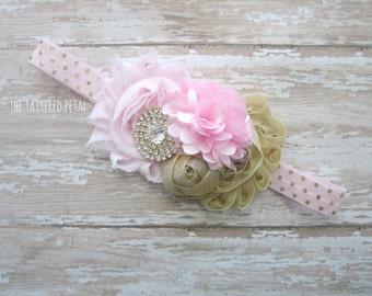 Pink and gold headband, gold and pink headband, pink headband, gold headband, pink and gold baby headband, newborn headband, cake smash