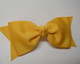 Tuxedo Yellow Gold Mustard Classic School Uniform Hair Bow Simple Traditional Basic Style Uniform Boutique Toddler Girl
