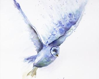 owl art, owl watercolor barn owl print, owl painting, barn owl  watercolor, owl painting, owl print owl canvas kitchen art, barn owl,