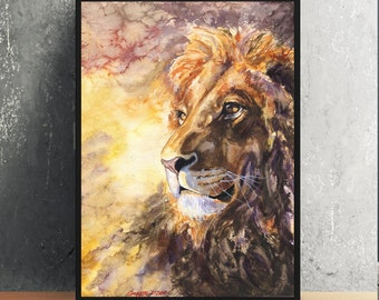 Lion watercolor Print of the Original painting Cute  Art Animals Family water Africa  Big Cat Africa Animal King Leo  wild cat