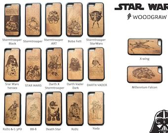 Star Wars iPhone case Stormtrooper, Darth Vader, Death Star, Star Wars gift, Star Wars heroes, Star Wars design, Star Wars art, Wooden, Wood